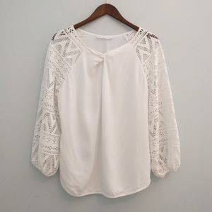 Anne Fontaine Crochet Sleeve Top